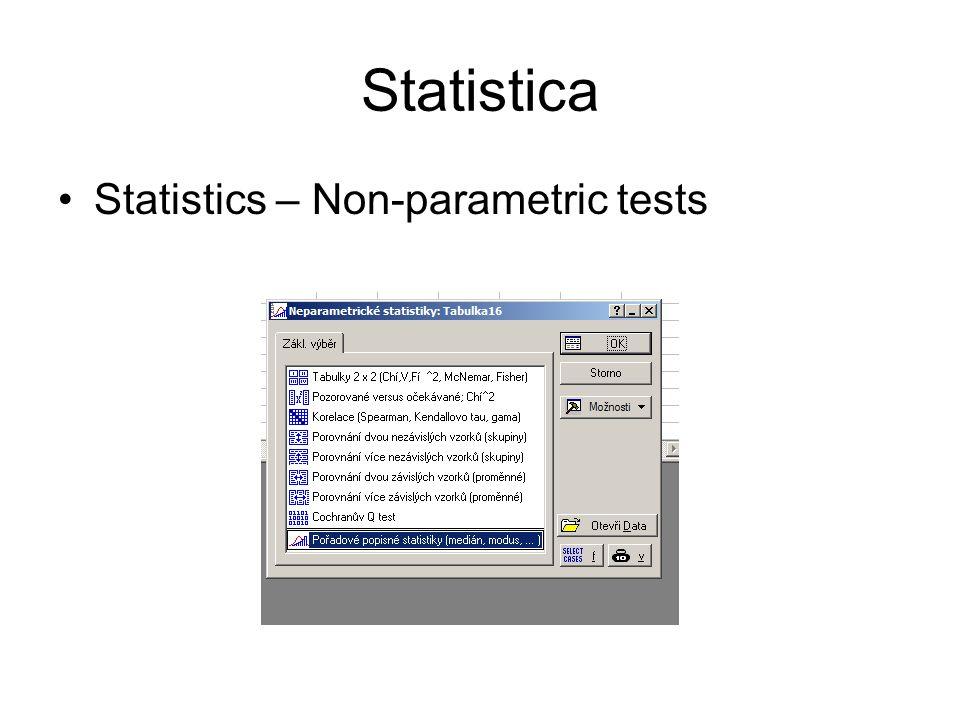 Statistica Statistics – Non-parametric tests