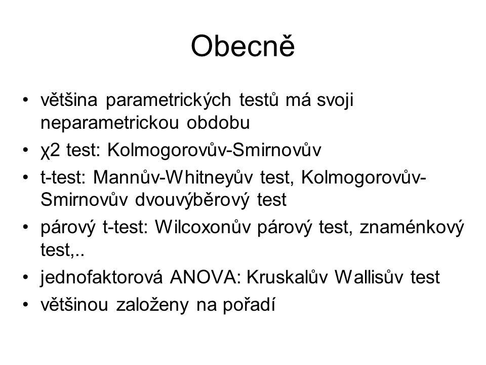 Obecně většina parametrických testů má svoji neparametrickou obdobu χ2 test: Kolmogorovův-Smirnovův t-test: Mannův-Whitneyův test, Kolmogorovův- Smirn
