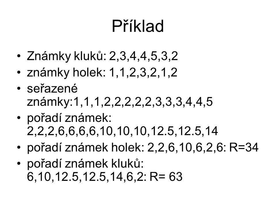 Příklad Známky kluků: 2,3,4,4,5,3,2 známky holek: 1,1,2,3,2,1,2 seřazené známky:1,1,1,2,2,2,2,2,3,3,3,4,4,5 pořadí známek: 2,2,2,6,6,6,6,10,10,10,12.5