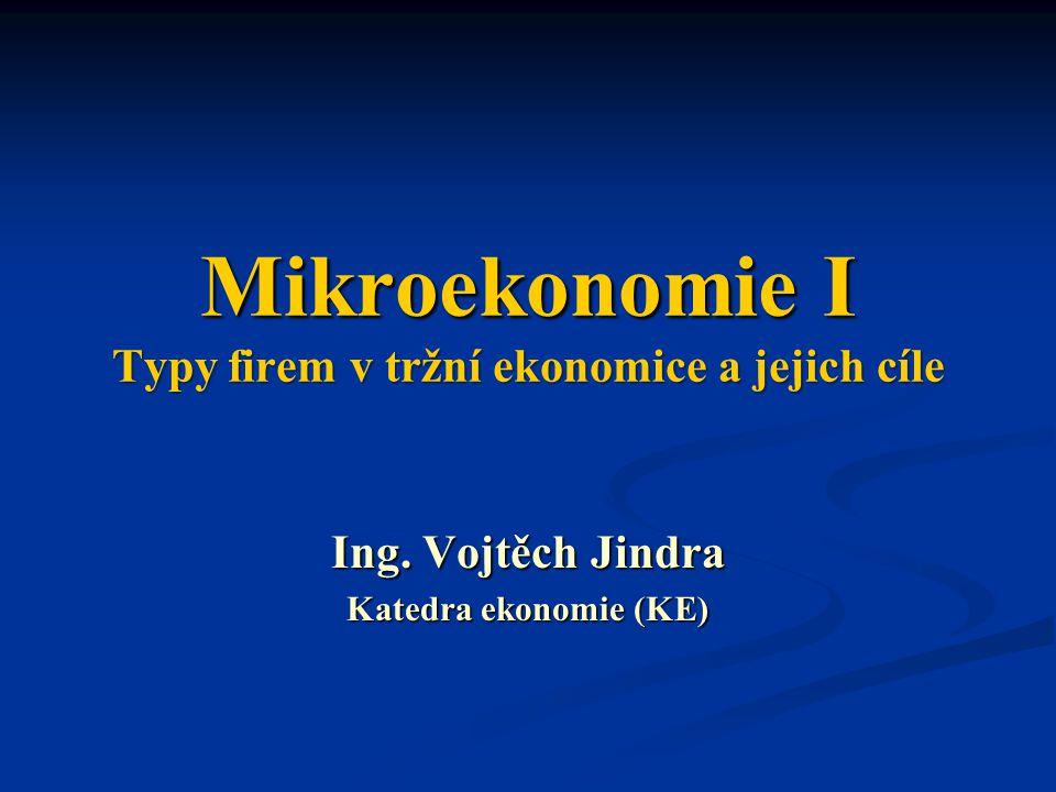 Mikroekonomie I Typy firem v tržní ekonomice a jejich cíle Ing.