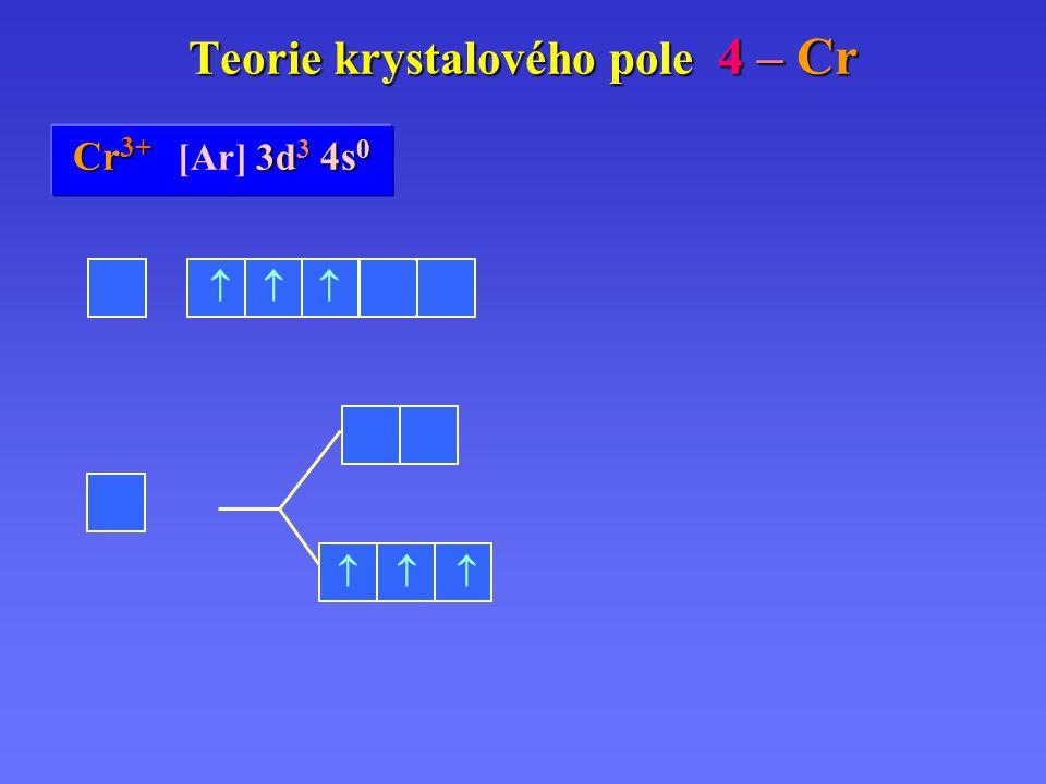 Cr Cr 0 [Ar] 3d 5 3d 5 4s 1 Teorie krystalového pole 4 – Cr Cr 2+ 3d 4 4s 0 Cr 2+ [Ar] 3d 4 4s 0 Cr 3+ 3d 3 4s 0 Cr 3+ [Ar] 3d 3 4s 0        