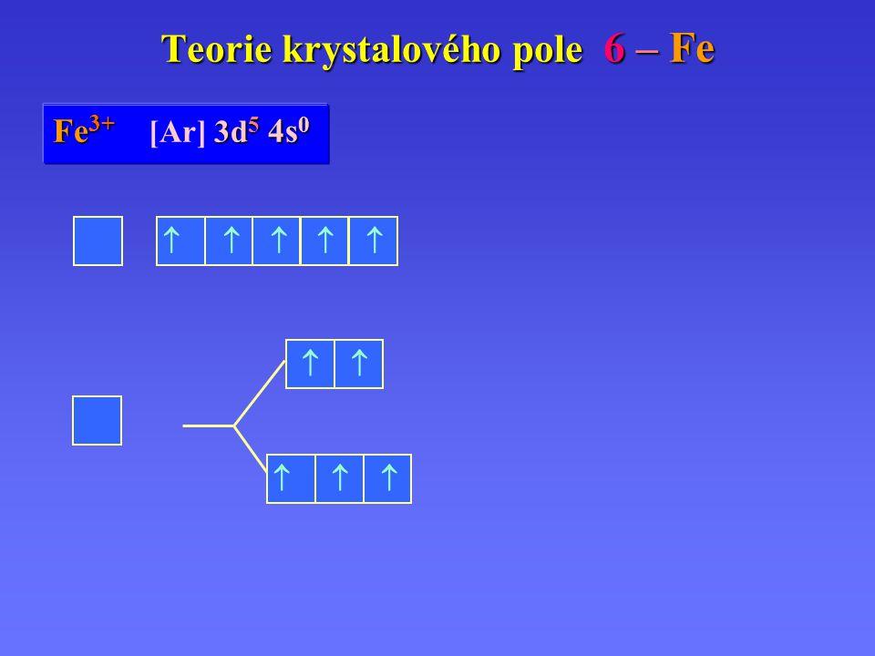 Fe Fe 0 [Ar] 3d 6 3d 6 4s 2 Teorie krystalového pole 6 – Fe Fe 2+ 3d 6 4s 0 Fe 2+ [Ar] 3d 6 4s 0 Fe 3+ 3d 5 4s 0 Fe 3+ [Ar] 3d 5 4s 0       