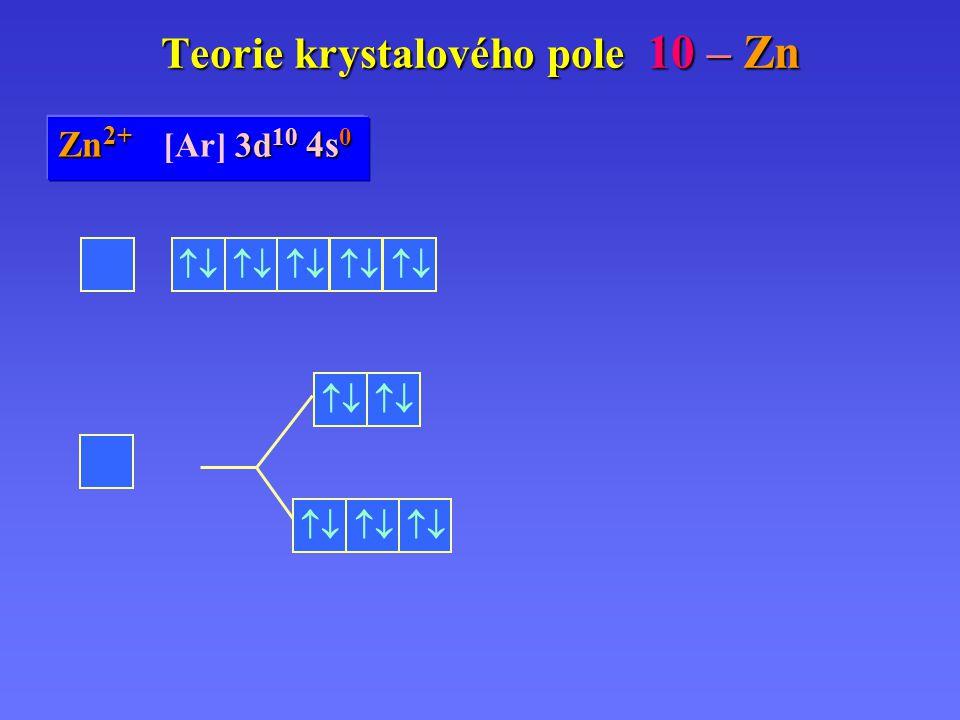 Zn Zn 0 [Ar] 3d 10 3d 10 4s 2 Zn 2+ 3d 10 4s 0 Zn 2+ [Ar] 3d 10 4s 0 Teorie krystalového pole 10 – Zn       