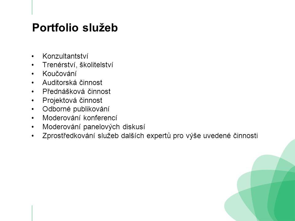 Portfolio služeb Konzultanství především pro oblast managementu, řízení firem, procesů a práce jak prodejních týmů tak jednotlivců.