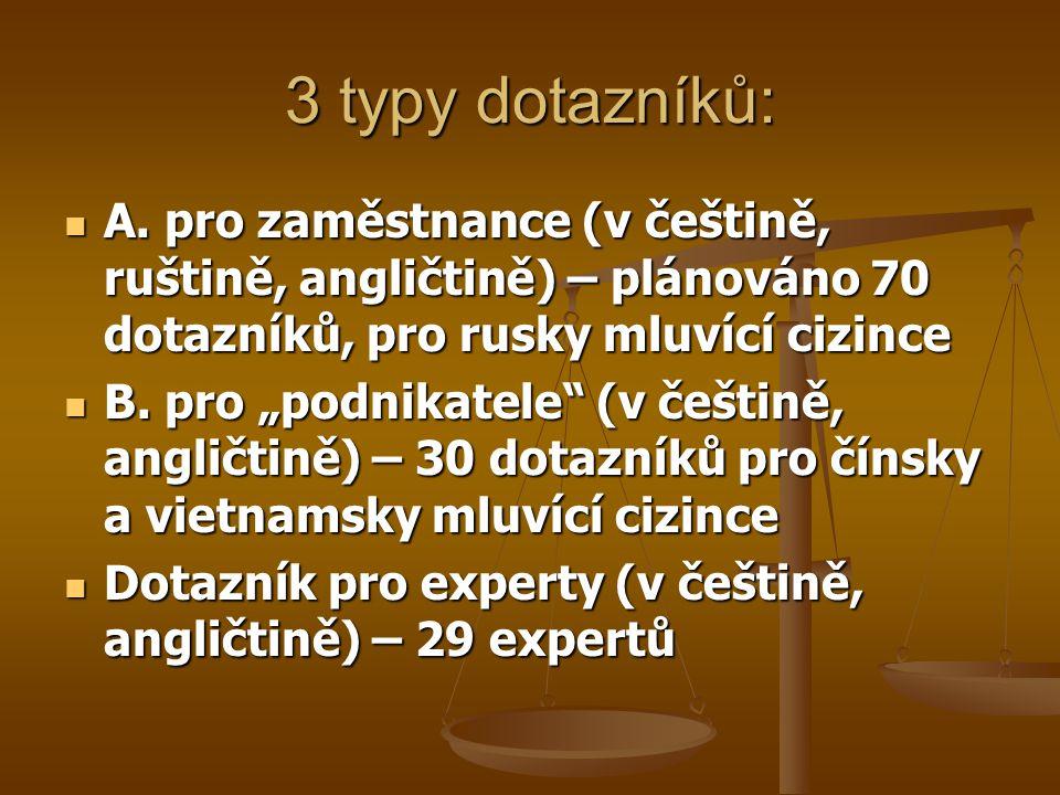 3 typy dotazníků: A. pro zaměstnance (v češtině, ruštině, angličtině) – plánováno 70 dotazníků, pro rusky mluvící cizince A. pro zaměstnance (v češtin