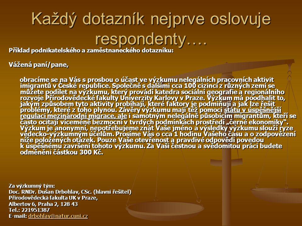 Příklad oslovení expertního dotazníku: Vážená paní/pane, dovolujeme si Vás oslovit jako experta na určité aspekty nelegálních (případně kvazilegálních) ekonomických aktivit imigrantů[1] v České republice.