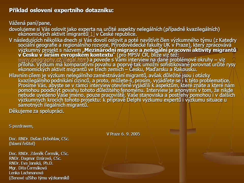 Příklad oslovení expertního dotazníku: Vážená paní/pane, dovolujeme si Vás oslovit jako experta na určité aspekty nelegálních (případně kvazilegálních