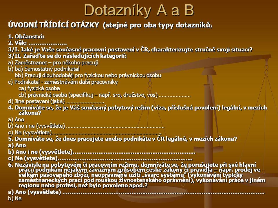 Dotazníky A a B ÚVODNÍ TŘÍDÍCÍ OTÁZKY (stejné pro oba typy dotazníků ) 1.