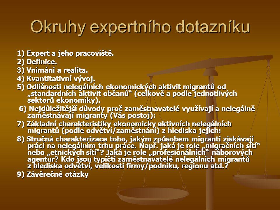Okruhy expertního dotazníku 1) Expert a jeho pracoviště. 2) Definice. 3) Vnímání a realita. 4) Kvantitativní vývoj. 5) Odlišnosti nelegálních ekonomic