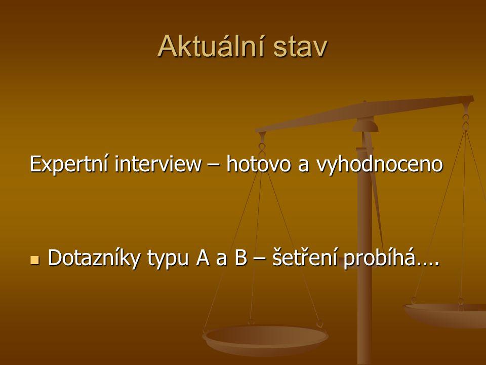 Aktuální stav Expertní interview – hotovo a vyhodnoceno Dotazníky typu A a B – šetření probíhá…. Dotazníky typu A a B – šetření probíhá….