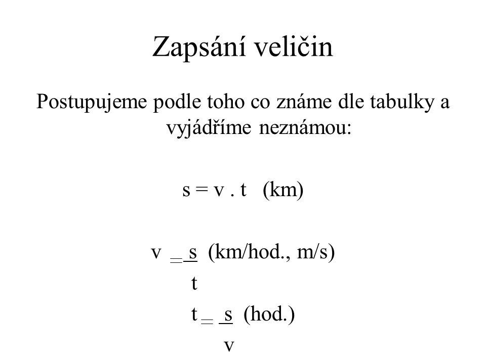 Zapsání veličin Postupujeme podle toho co známe dle tabulky a vyjádříme neznámou: s = v. t (km) v s (km/hod., m/s) t t s (hod.) v