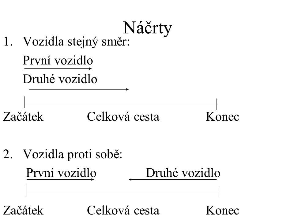 Náčrty 1.Vozidla stejný směr: První vozidlo Druhé vozidlo Začátek Celková cesta Konec 2.
