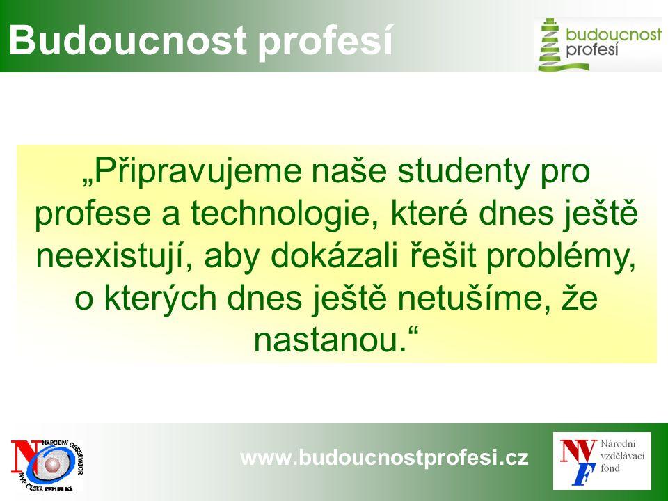 """www.budoucnostprofesi.cz Budoucnost profesí """"Připravujeme naše studenty pro profese a technologie, které dnes ještě neexistují, aby dokázali řešit pro"""
