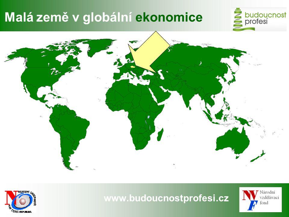 www.budoucnostprofesi.cz Hlavní faktory růstu ČESKÁ REPUBLIKA: Čtvrtá nejotevřenější ekonomika EU Zaměstnanost v průmyslu dosáhla 1,43 miliónu, 28 % pracovních míst ekonomiky (2008) Téměř polovina průmyslové produkce je exportována Vysoká citlivost na vývoj světové a zejména německé ekonomiky Vysoký podíl zaměstnanosti v odvětvích, která jsou nejvíce citlivá na vývoj ceny práce … … a která jsou nejčastěji předmětem outsourcingu.