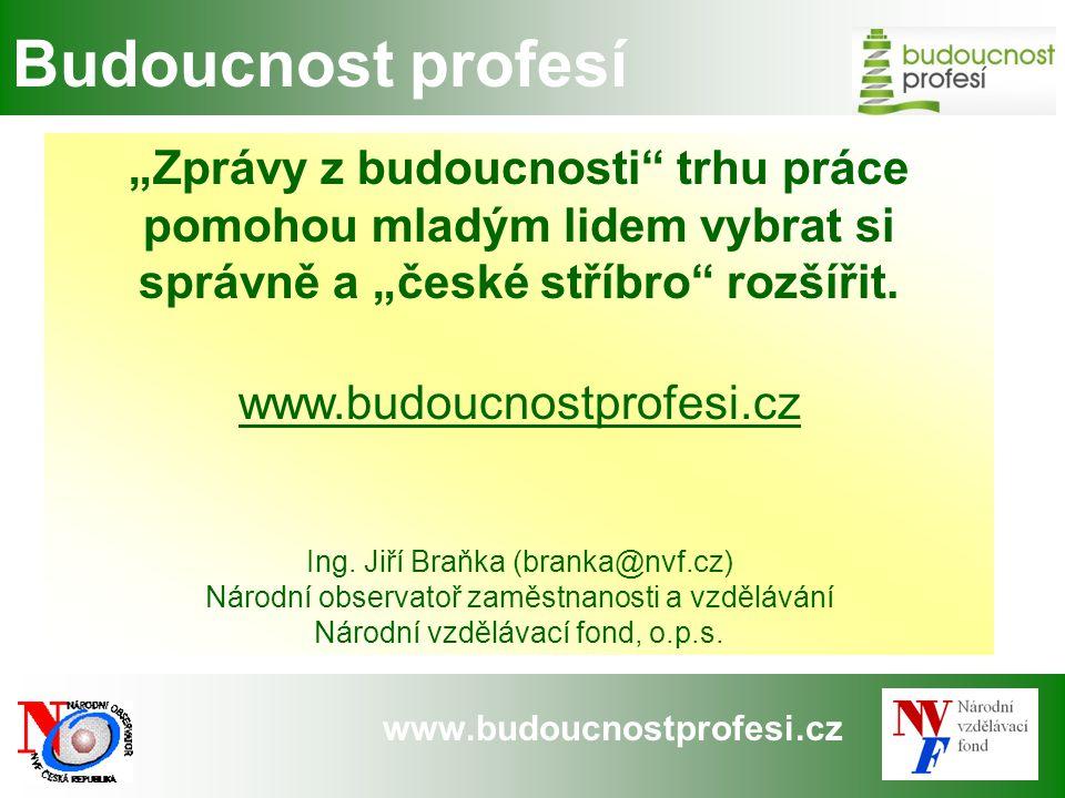 """www.budoucnostprofesi.cz Budoucnost profesí """"Zprávy z budoucnosti"""" trhu práce pomohou mladým lidem vybrat si správně a """"české stříbro"""" rozšířit. www.b"""