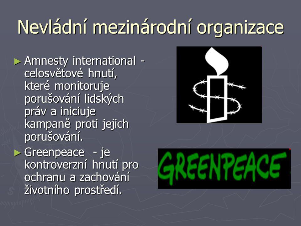 Nevládní mezinárodní organizace ► Amnesty international - celosvětové hnutí, které monitoruje porušování lidských práv a iniciuje kampaně proti jejich