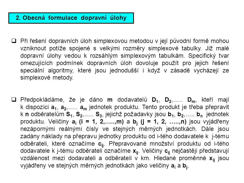 2. Obecná formulace dopravní úlohy  Při řešení dopravních úloh simplexovou metodou v její původní formě mohou vzniknout potíže spojené s velkými rozm