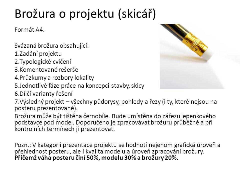 Brožura o projektu (skicář) Formát A4. Svázaná brožura obsahující: 1.Zadání projektu 2.Typologické cvičení 3.Komentované rešerše 4.Průzkumy a rozbory