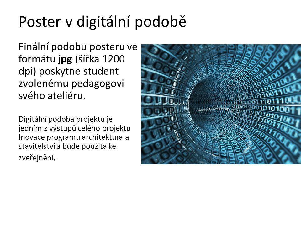 Poster v digitální podobě Finální podobu posteru ve formátu jpg (šířka 1200 dpi) poskytne student zvolenému pedagogovi svého ateliéru. Digitální podob