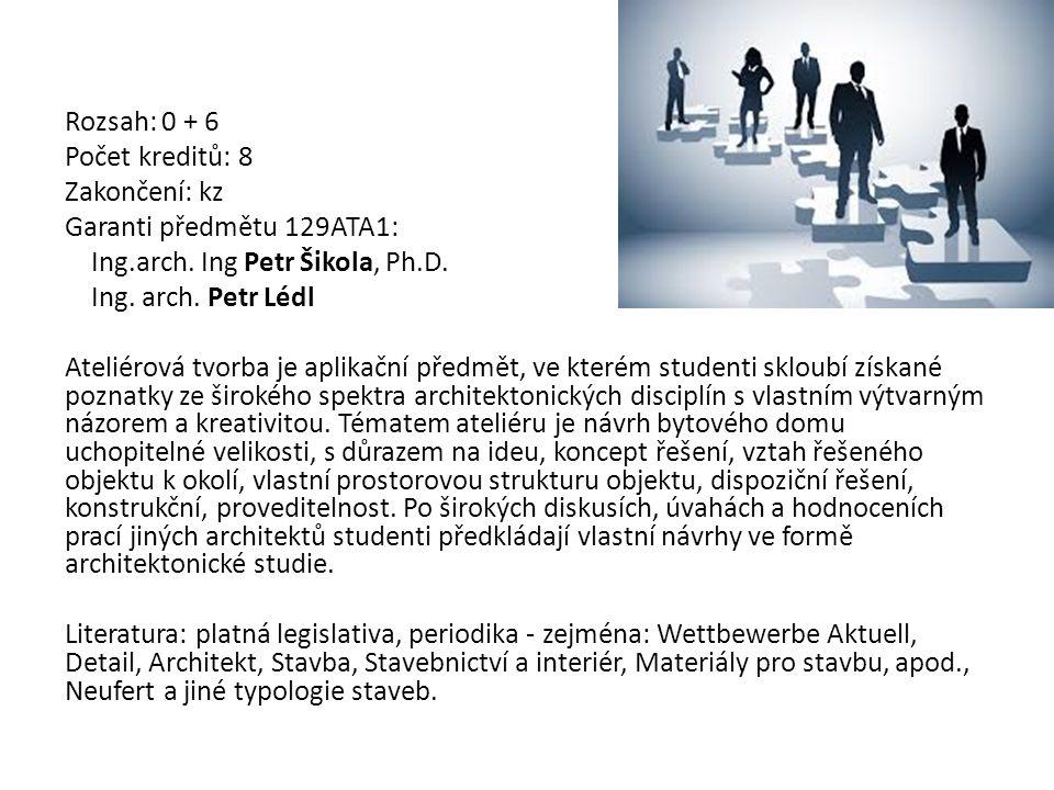 Rozsah: 0 + 6 Počet kreditů: 8 Zakončení: kz Garanti předmětu 129ATA1: Ing.arch. Ing Petr Šikola, Ph.D. Ing. arch. Petr Lédl Ateliérová tvorba je apli