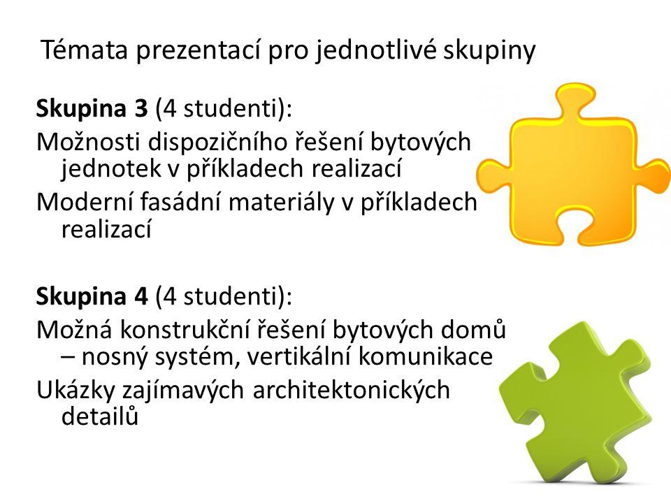Témata prezentací pro jednotlivé skupiny Skupina 3 (4 studenti): Možnosti dispozičního řešení bytových jednotek v příkladech realizací Moderní fasádní