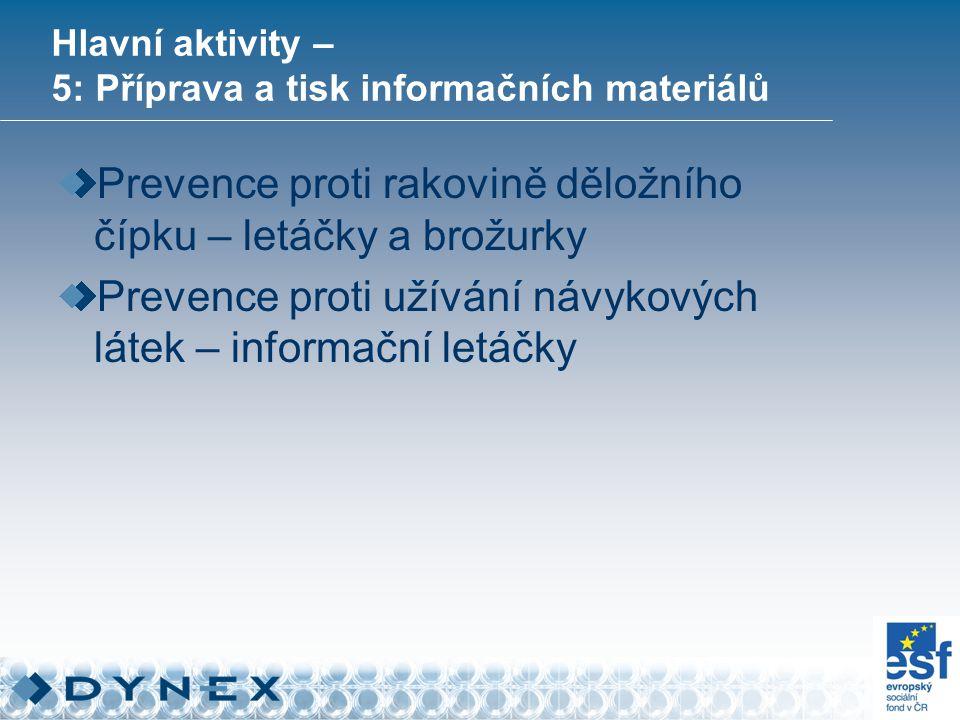 Hlavní aktivity – 5: Příprava a tisk informačních materiálů Prevence proti rakovině děložního čípku – letáčky a brožurky Prevence proti užívání návykových látek – informační letáčky