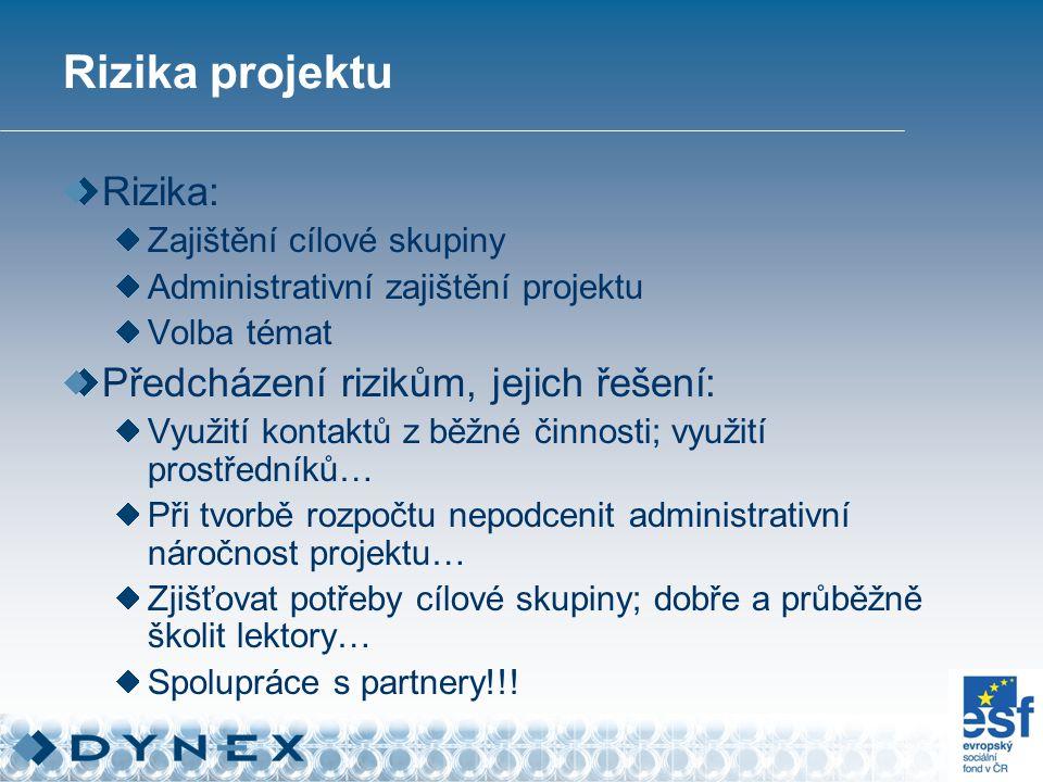 Rizika projektu Rizika: Zajištění cílové skupiny Administrativní zajištění projektu Volba témat Předcházení rizikům, jejich řešení: Využití kontaktů z běžné činnosti; využití prostředníků… Při tvorbě rozpočtu nepodcenit administrativní náročnost projektu… Zjišťovat potřeby cílové skupiny; dobře a průběžně školit lektory… Spolupráce s partnery!!!