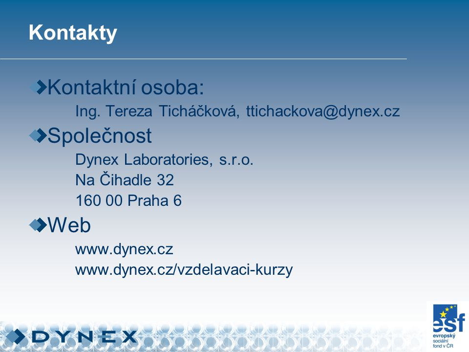 Kontakty Kontaktní osoba: Ing.