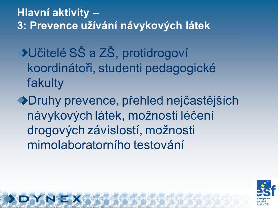 Hlavní aktivity – 3: Prevence užívání návykových látek Učitelé SŠ a ZŠ, protidrogoví koordinátoři, studenti pedagogické fakulty Druhy prevence, přehled nejčastějších návykových látek, možnosti léčení drogových závislostí, možnosti mimolaboratorního testování
