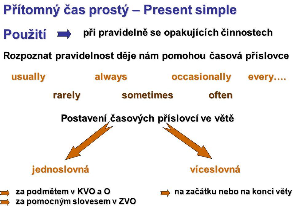 Přítomný čas prostý – Present simple Tvoření Kladná věta oznamovací (KVO) Záporná věta oznamovací (ZVO) - ve 3.