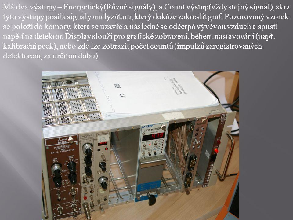 Má dva výstupy – Energetický(Různé signály), a Count výstup(vždy stejný signál), skrz tyto výstupy posílá signály analyzátoru, který dokáže zakreslit