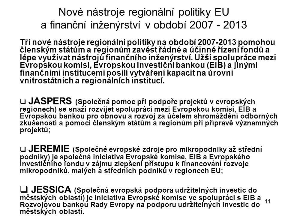 11 Nové nástroje regionální politiky EU a finanční inženýrství v období 2007 - 2013 Tři nové nástroje regionální politiky na období 2007-2013 pomohou členským státům a regionům zavést řádné a účinné řízení fondů a lépe využívat nástrojů finančního inženýrství.