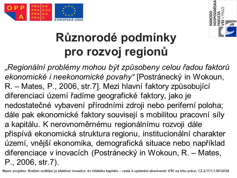 """Různorodé podmínky pro rozvoj regionů """"Regionální problémy mohou být způsobeny celou řadou faktorů ekonomické i neekonomické povahy [Postránecký in Wokoun, R."""