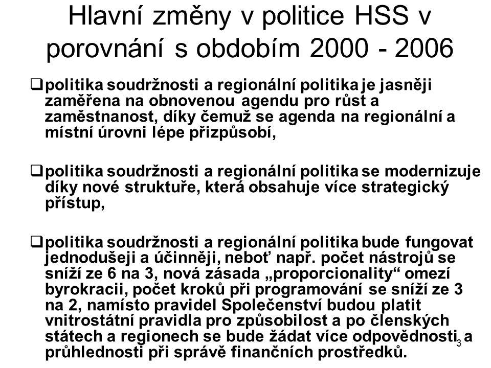 3 Hlavní změny v politice HSS v porovnání s obdobím 2000 - 2006  politika soudržnosti a regionální politika je jasněji zaměřena na obnovenou agendu pro růst a zaměstnanost, díky čemuž se agenda na regionální a místní úrovni lépe přizpůsobí,  politika soudržnosti a regionální politika se modernizuje díky nové struktuře, která obsahuje více strategický přístup,  politika soudržnosti a regionální politika bude fungovat jednodušeji a účinněji, neboť např.