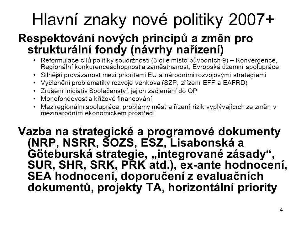 """4 Hlavní znaky nové politiky 2007+ Respektování nových principů a změn pro strukturální fondy (návrhy nařízení) Reformulace cílů politiky soudržnosti (3 cíle místo původních 9) – Konvergence, Regionální konkurenceschopnost a zaměstnanost, Evropská územní spolupráce Silnější provázanost mezi prioritami EU a národními rozvojovými strategiemi Vyčlenění problematiky rozvoje venkova (SZP, zřízení EFF a EAFRD) Zrušení iniciativ Společenství, jejich začlenění do OP Monofondovost a křížové financování Meziregionální spolupráce, problémy měst a řízení rizik vyplývajících ze změn v mezinárodním ekonomickém prostředí Vazba na strategické a programové dokumenty (NRP, NSRR, SOZS, ESZ, Lisabonská a Göteburská strategie, """"integrované zásady , SUR, SHR, SRK, PRK atd.), ex-ante hodnocení, SEA hodnocení, doporučení z evaluačních dokumentů, projekty TA, horizontální priority"""