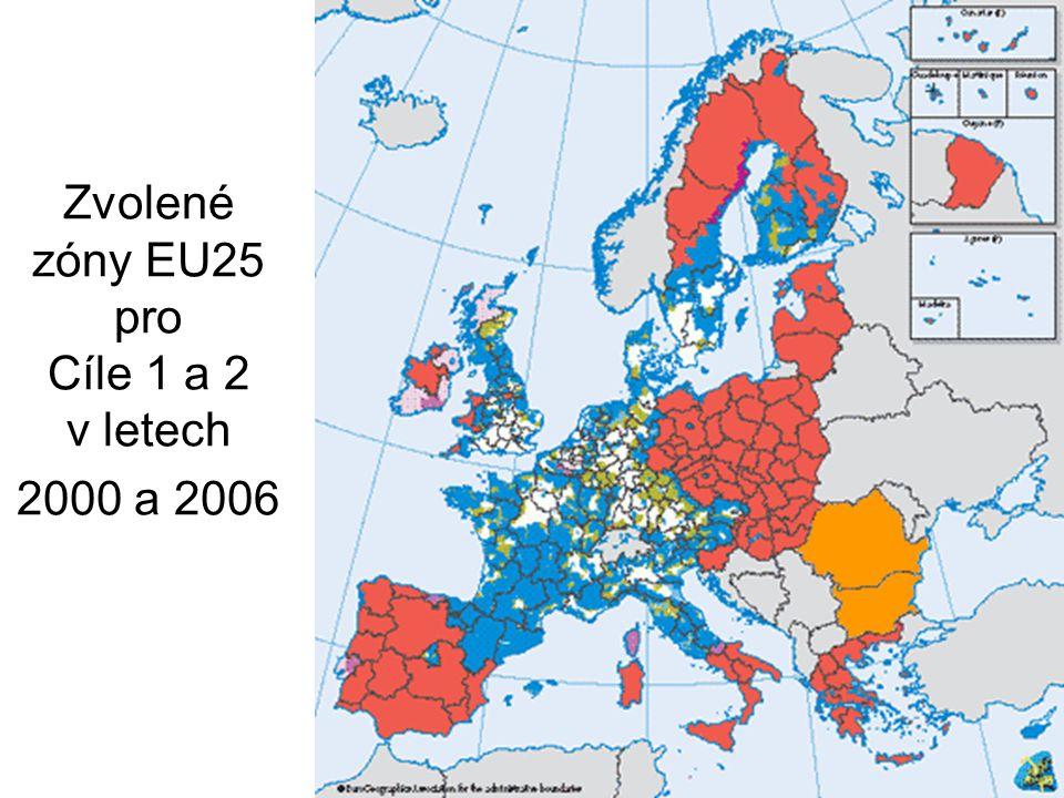 6 Zvolené zóny EU25 pro Cíle 1 a 2 v letech 2000 a 2006