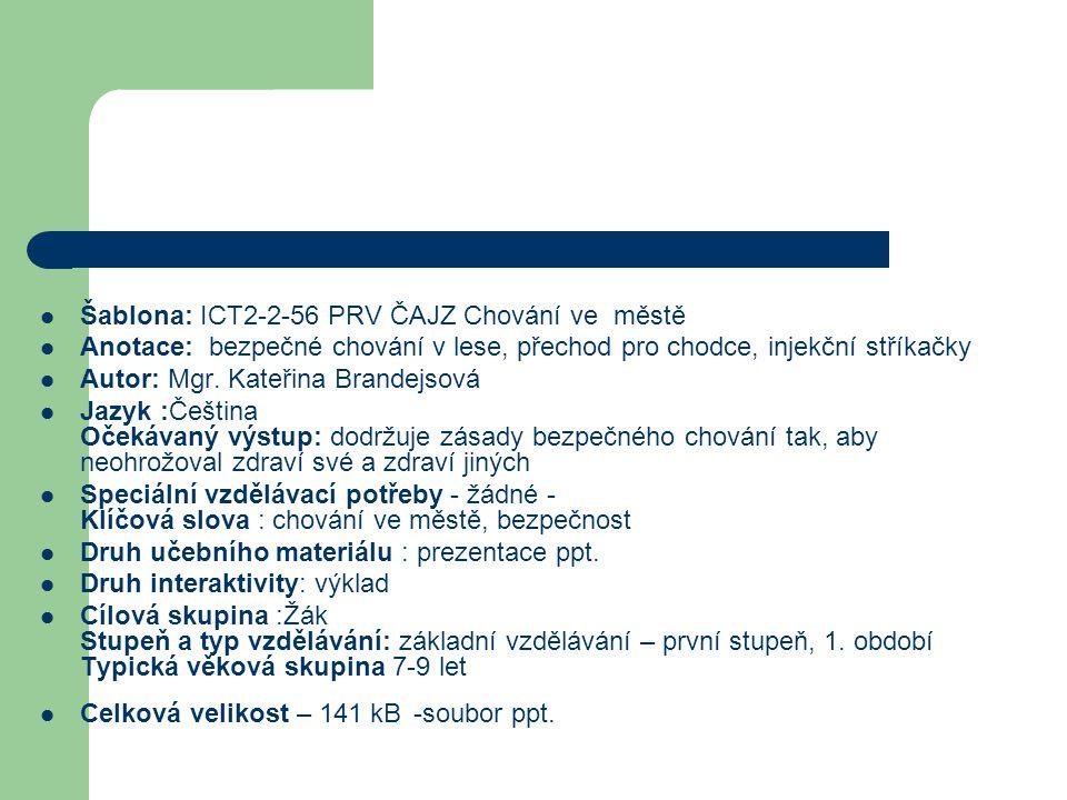 Šablona: ICT2-2-56 PRV ČAJZ Chování ve městě Anotace: bezpečné chování v lese, přechod pro chodce, injekční stříkačky Autor: Mgr.