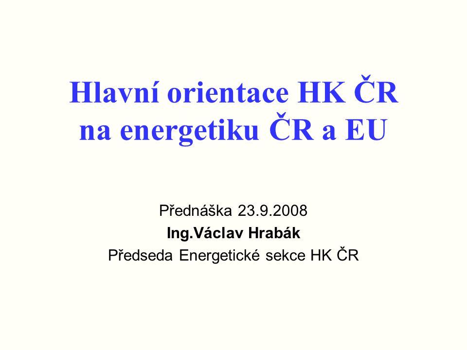 Hlavní orientace HK ČR na energetiku ČR a EU Přednáška 23.9.2008 Ing.Václav Hrabák Předseda Energetické sekce HK ČR
