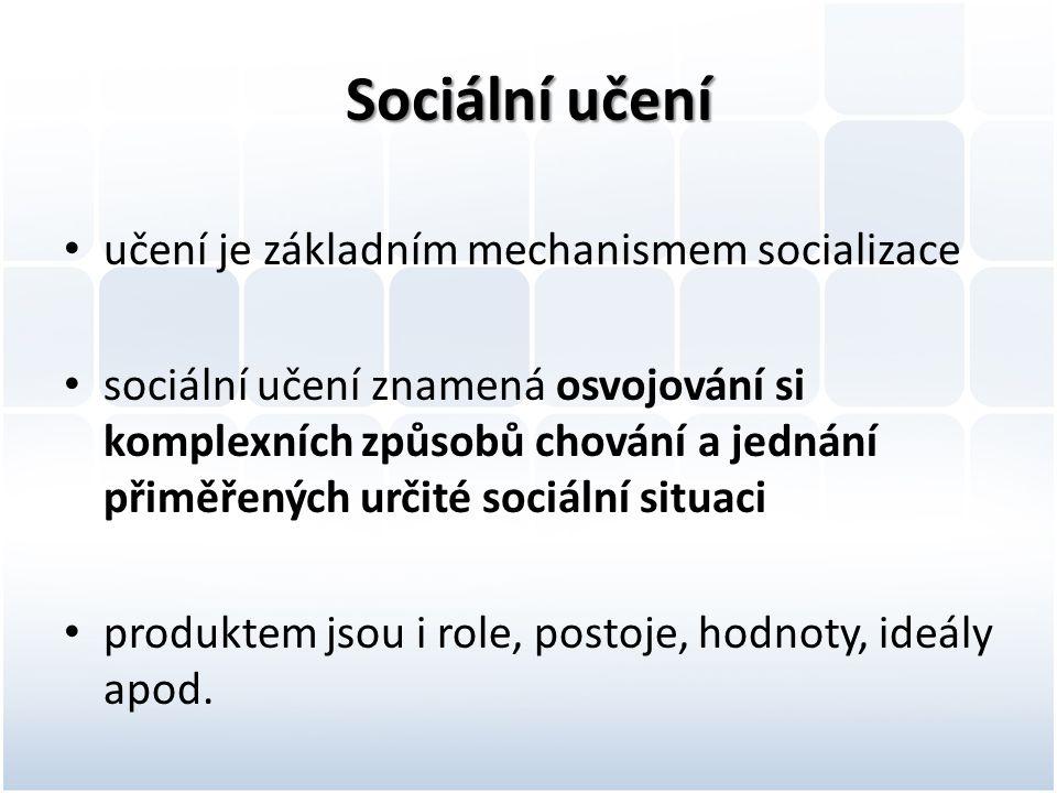 Sociální učení učení je základním mechanismem socializace sociální učení znamená osvojování si komplexních způsobů chování a jednání přiměřených určit