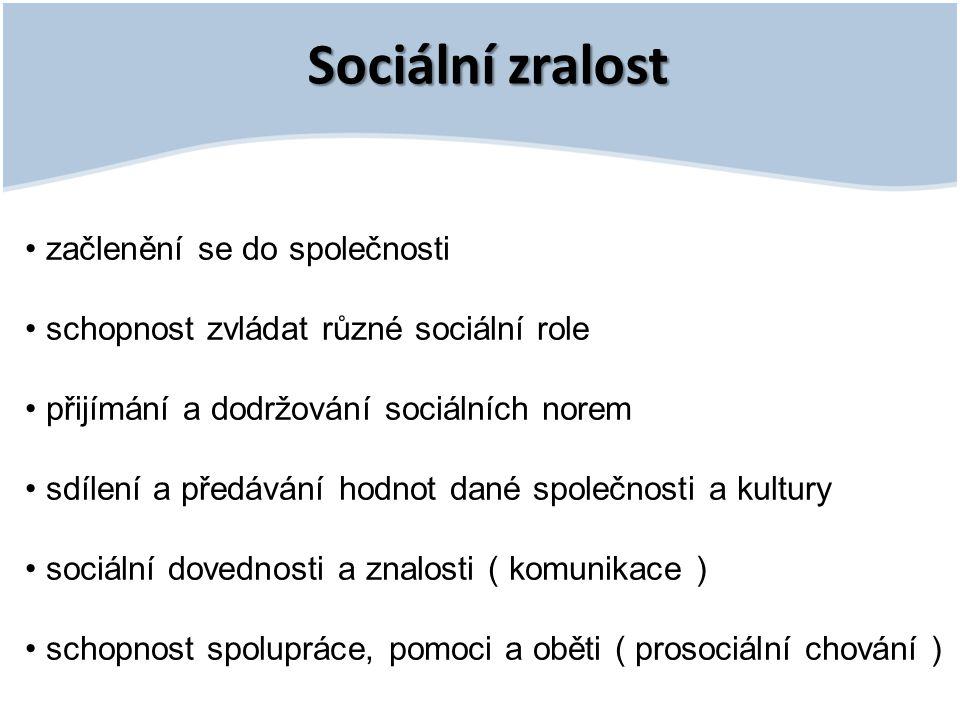 Sociální zralost začlenění se do společnosti schopnost zvládat různé sociální role přijímání a dodržování sociálních norem sdílení a předávání hodnot