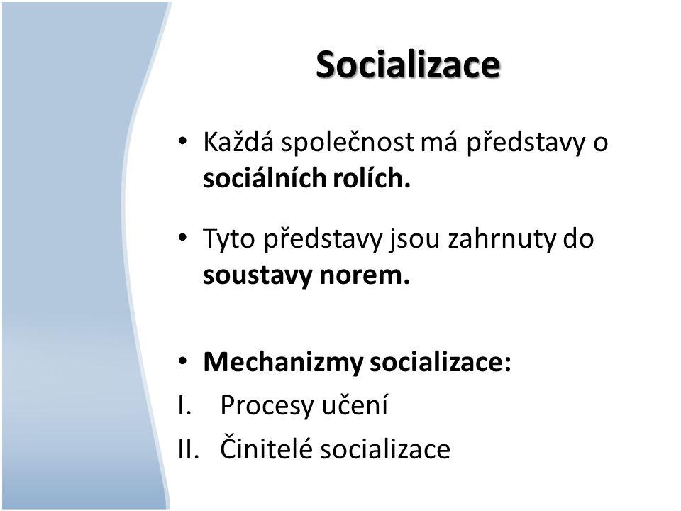 Socializace Každá společnost má představy o sociálních rolích. Tyto představy jsou zahrnuty do soustavy norem. Mechanizmy socializace: I.Procesy učení