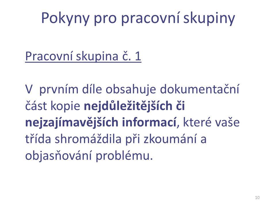 Pokyny pro pracovní skupiny 10 Pracovní skupina č. 1 V prvním díle obsahuje dokumentační část kopie nejdůležitějších či nejzajímavějších informací, kt