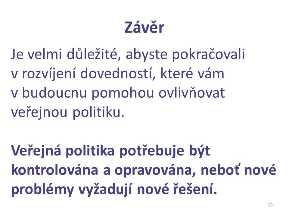 Závěr 28 Je velmi důležité, abyste pokračovali v rozvíjení dovedností, které vám v budoucnu pomohou ovlivňovat veřejnou politiku. Veřejná politika pot