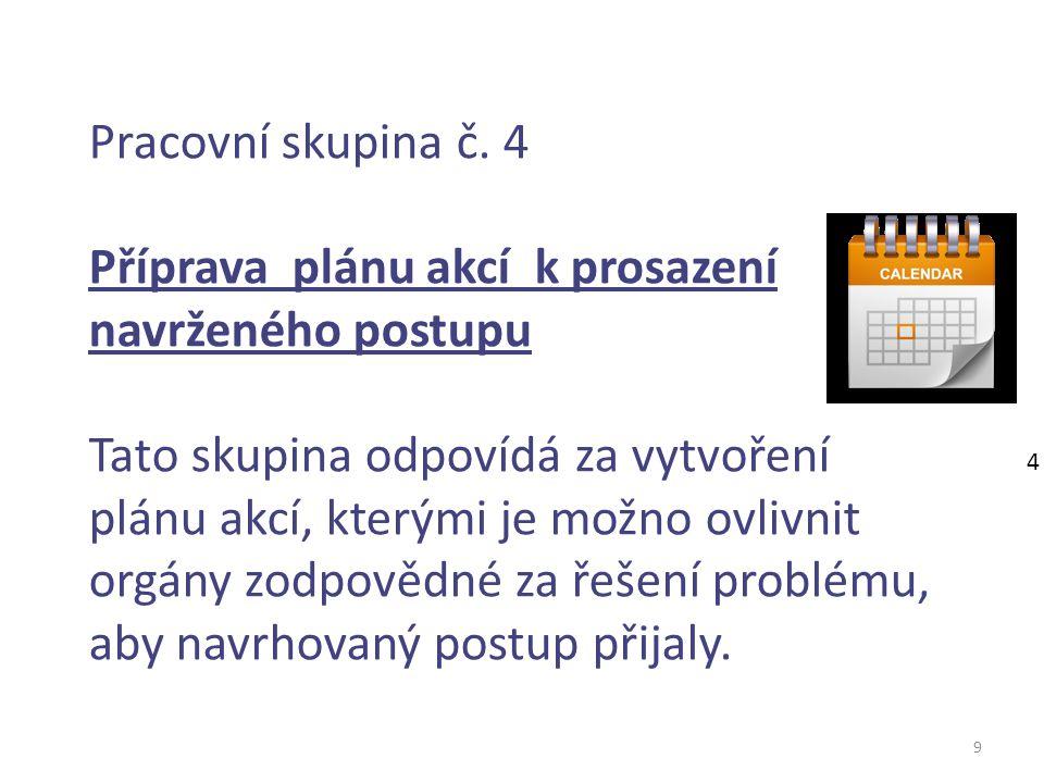 9 Pracovní skupina č. 4 Příprava plánu akcí k prosazení navrženého postupu Tato skupina odpovídá za vytvoření plánu akcí, kterými je možno ovlivnit or