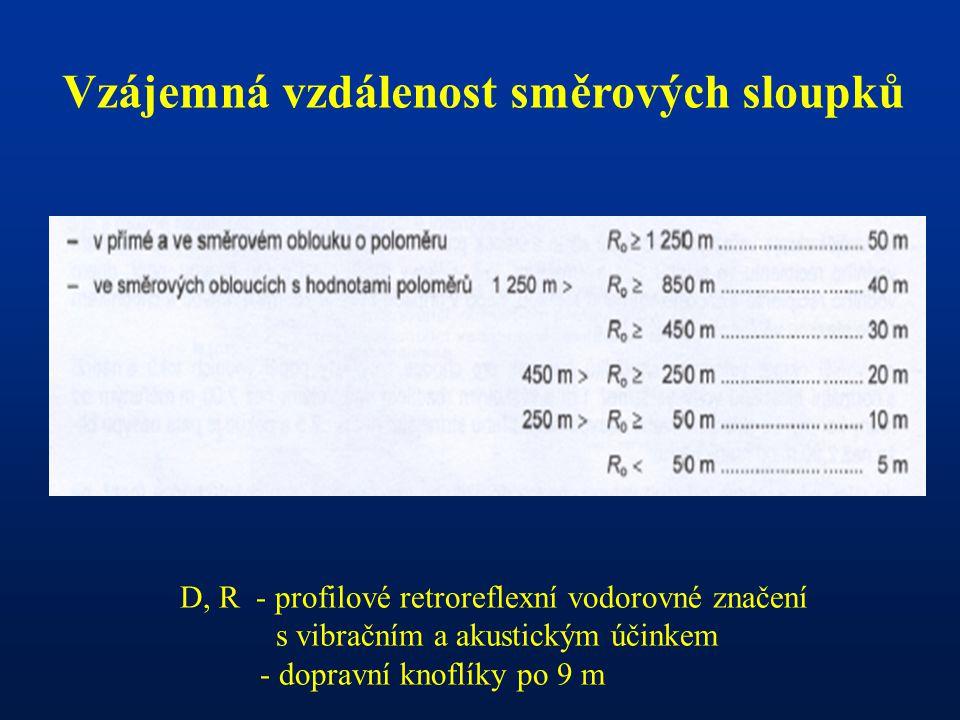 - Vzájemná vzdálenost směrových sloupků D, R - profilové retroreflexní vodorovné značení s vibračním a akustickým účinkem - dopravní knoflíky po 9 m