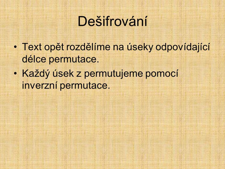 Tvorba permutace z hesla Řekněme, že smluvený text bude nějaké slovo.