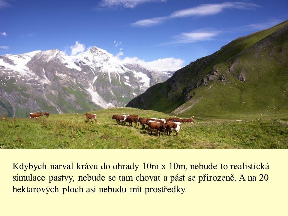 Kdybych narval krávu do ohrady 10m x 10m, nebude to realistická simulace pastvy, nebude se tam chovat a pást se přirozeně.