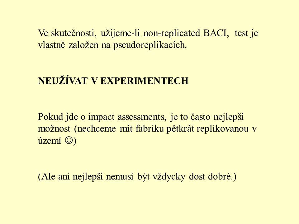 Ve skutečnosti, užijeme-li non-replicated BACI, test je vlastně založen na pseudoreplikacích.