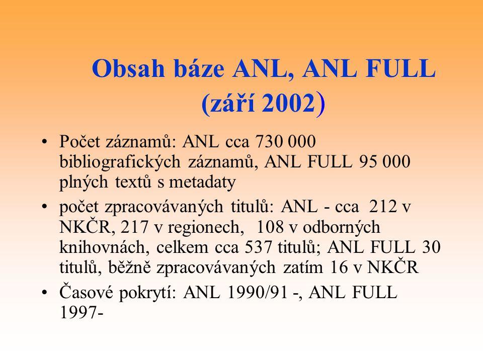 Obsah báze ANL, ANL FULL (září 2002 ) Počet záznamů: ANL cca 730 000 bibliografických záznamů, ANL FULL 95 000 plných textů s metadaty počet zpracovávaných titulů: ANL - cca 212 v NKČR, 217 v regionech, 108 v odborných knihovnách, celkem cca 537 titulů; ANL FULL 30 titulů, běžně zpracovávaných zatím 16 v NKČR Časové pokrytí: ANL 1990/91 -, ANL FULL 1997-