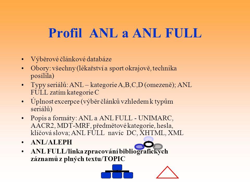 Profil ANL a ANL FULL Výběrové článkové databáze Obory: všechny (lékařství a sport okrajově, technika posílila) Typy seriálů: ANL – kategorie A,B,C,D (omezeně); ANL FULL zatím kategorie C Úplnost excerpce (výběr článků vzhledem k typům seriálů) Popis a formáty: ANL a ANL FULL - UNIMARC, AACR2, MDT-MRF, předmětové kategorie, hesla, klíčová slova; ANL FULL navíc DC, XHTML, XML ANL/ALEPH ANL FULL/linka zpracování bibliografických záznamů z plných textu/TOPIC